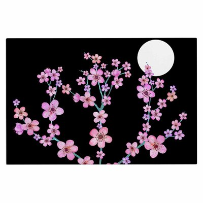 Julia Grifol Cherry Blossom at Night Doormat