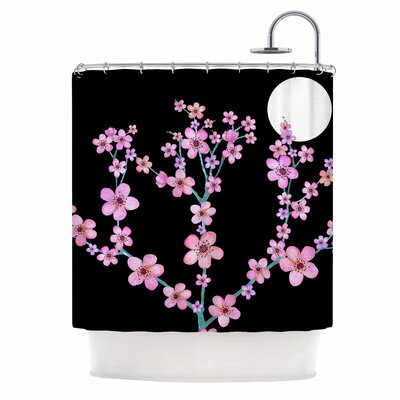 Julia Grifol Cherry Blossom At Night Shower Curtain