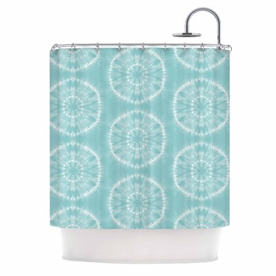 Jacqueline Milton Shibori Circles - Aqua Shower Curtain Color: Teal