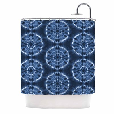 Jacqueline Milton Shibori Circles - Aqua Shower Curtain Color: Blue/Indigo