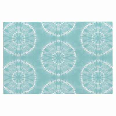 Jacqueline Milton Shibori Circles Latte Pastel Mixed Media Doormat Color: Teal/Aqua