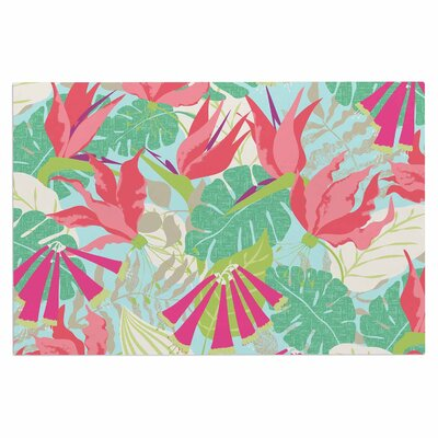 Jacqueline Milton Tropicana Lime Doormat Color: Blue/Aqua