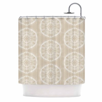 Jacqueline Milton Shibori Circles - Aqua Shower Curtain Color: Beige