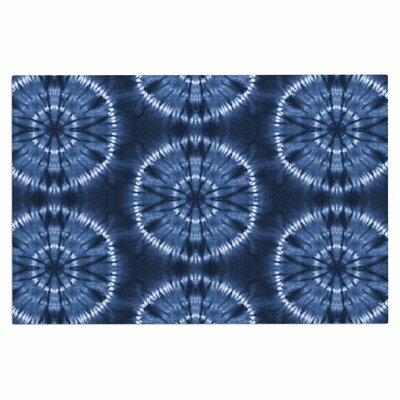 Jacqueline Milton Shibori Circles Latte Pastel Mixed Media Doormat Color: Indigo/Blue
