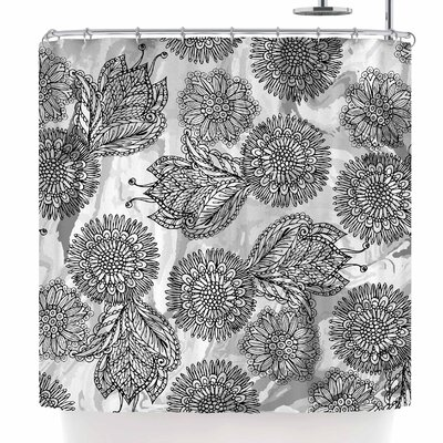 Julia Grifol Flowers in Gray Shower Curtain
