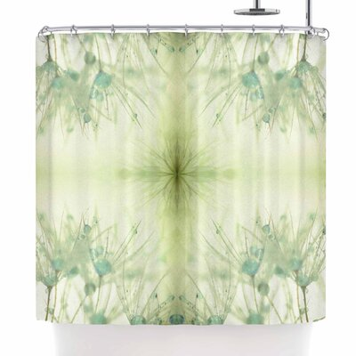 Ginkelmier Dandelion Dreams in Blue Abstract Shower Curtain