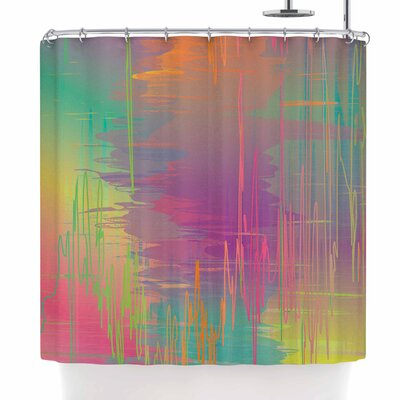 Graphic Tabby Rainbow Storm Abstract Shower Curtain
