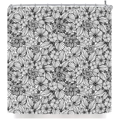 Julia Grifol Candy Flowers in Black Shower Curtain