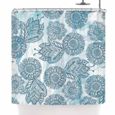 Julia Grifol Garden in Blue Shower Curtain