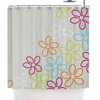 Julia Grifol Dancing Flowers Shower Curtain