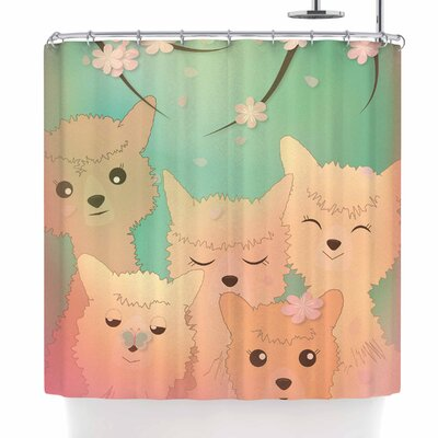 Graphic Tabby Spring Alpacas Shower Curtain
