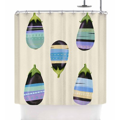 Judith Loske Happy Aubergines Shower Curtain