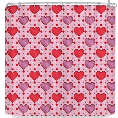Mydeas Candy Hearts Dotted Vector Shower Curtain