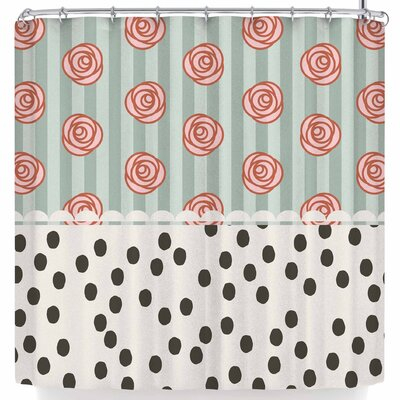 Pellerina Mismatch Romantic Polkadot Floral Shower Curtain