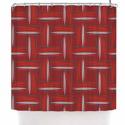 Empire Ruhl Red and Rust Crosshatch Digital Shower Curtain