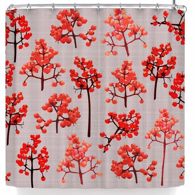 Pellerina Holiday Berry Twigs Floral Nature Shower Curtain