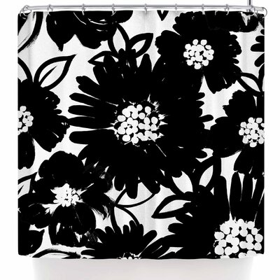 Emine Ortega Monochromatic Blooms Shower Curtain