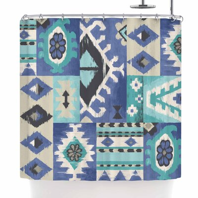 Jacqueline Milton Tribal Patch - Shower Curtain Color: Blue/Teal