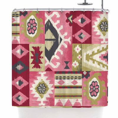 Jacqueline Milton Tribal Patch - Shower Curtain Color: Red/Pink