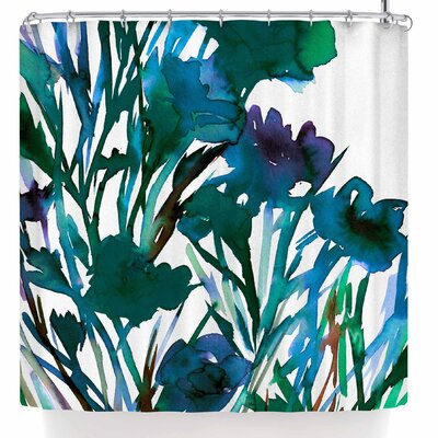Ebi Emporium Petal For Your Thoughts Teal Shower Curtain