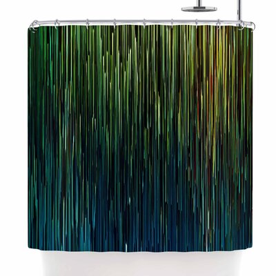 Ginkelmier Planet Pixel Billboard Shower Curtain Color: Blue/Yellow
