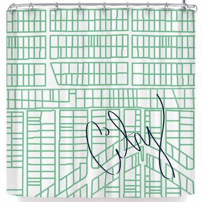 Love Midge Teal City Streets and Parcels Shower Curtain
