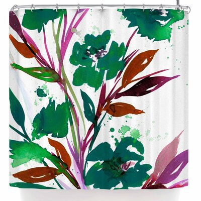 Ebi Emporium Pocket Full of Posies Teal Shower Curtain