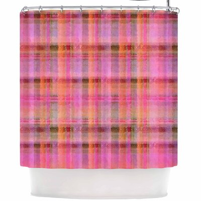 Carolyn Greifeld Watercolor Plaid Shower Curtain Color: Pink/Yellow