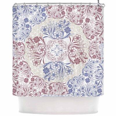 Famenxt Floral Dense Garden Illustration Shower Curtain
