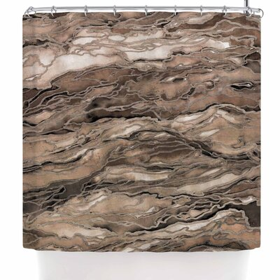 Ebi Emporium Marble Idea! - Rich Jewel Tone Shower Curtain Color: Brown Beige