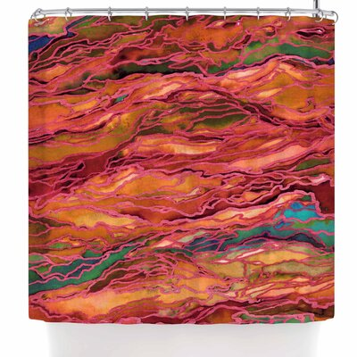 Ebi Emporium Marble Idea! - Rich Jewel Tone Shower Curtain Color: Orange Red