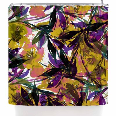 Ebi Emporium Floral Fiesta Plum Shower Curtain Color: Yellow/Purple/Gold/Lavender