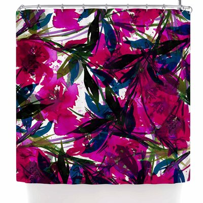 Ebi Emporium Floral Fiesta Plum Shower Curtain Color: Magenta Blue