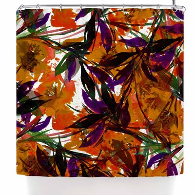 Ebi Emporium Floral Fiesta Plum Shower Curtain Color: Orange