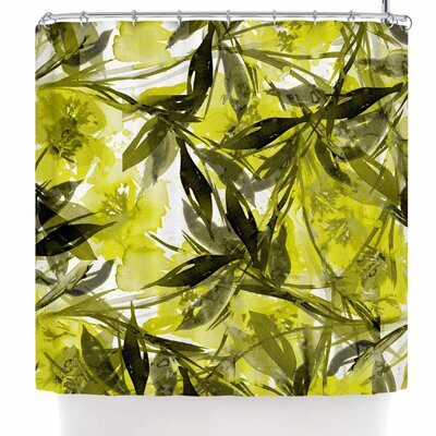 Ebi Emporium Floral Fiesta Plum Shower Curtain Color: Yellow/Gray/Saffron