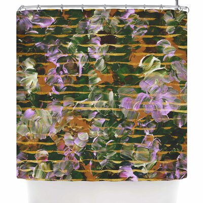 Ebi Emporium Gold Dust Garden Shower Curtain Color: Gold/Green