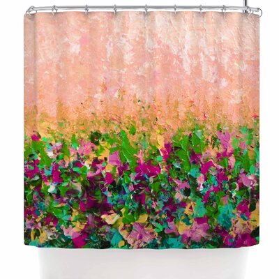 Ebi Emporium Natures Living Room Shower Curtain Color: Peach/Coral Green