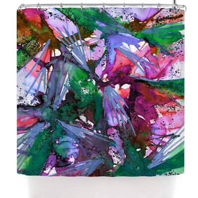 Ebi Emporium Birds of Prey - Tropical 3 Shower Curtain Color: Green/Pink