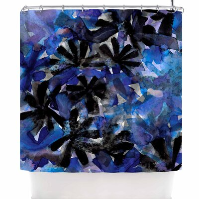 Ebi Emporium Snowy Stars 5 Shower Curtain Color: Blue/Black