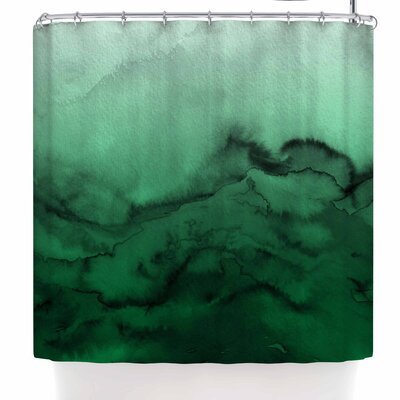 Ebi Emporium Winter Waves 9 Abstract Shower Curtain Color: Green/Black