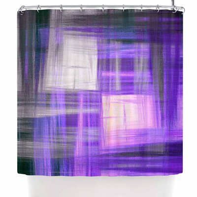 Ebi Emporium Tartan Crosshatch Shower Curtain Color: Purple
