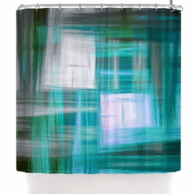 Ebi Emporium Tartan Crosshatch Shower Curtain Color: Teal