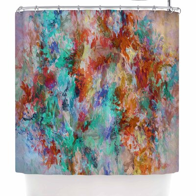 Ebi Emporium the Nexus 2 Shower Curtain Color: Orange/Aqua/Teal