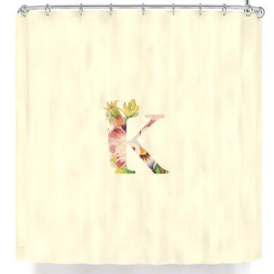 Floral Monogram Shower Curtain Letter: K