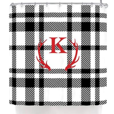 Plaid Monogram Shower Curtain Letter: K