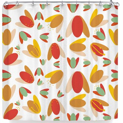 Love Midge 70s Floral Geometric Shower Curtain Color: Orange