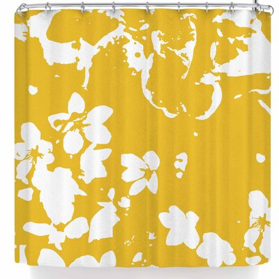 Love Midge Helena Floral Modern Shower Curtain Color: Yellow/Golden White