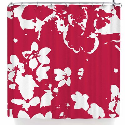 Love Midge Helena Floral Modern Shower Curtain Color: Magenta/Red White