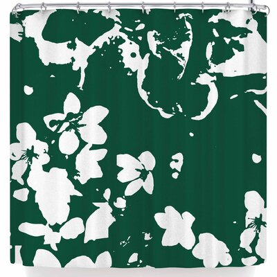 Love Midge Helena Floral Modern Shower Curtain Color: White
