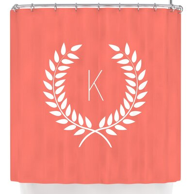 Wreath Monogram Shower Curtain Letter: V